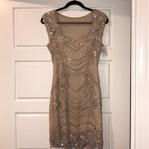 Adrianna Papell Beaded Champagne Dress